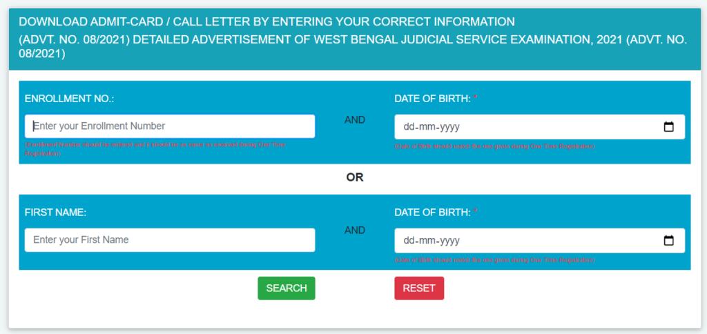 admit card of wbpsc workshop instructor 2021 exam